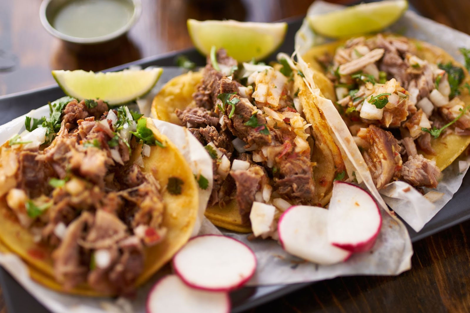 Tacos platted and ready to serve.