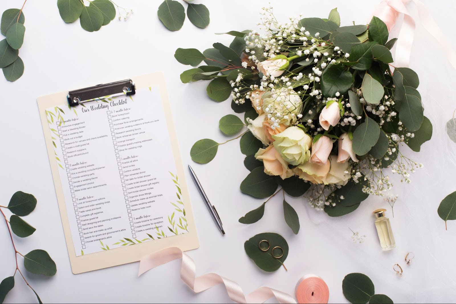 wedding planning check list and flowers