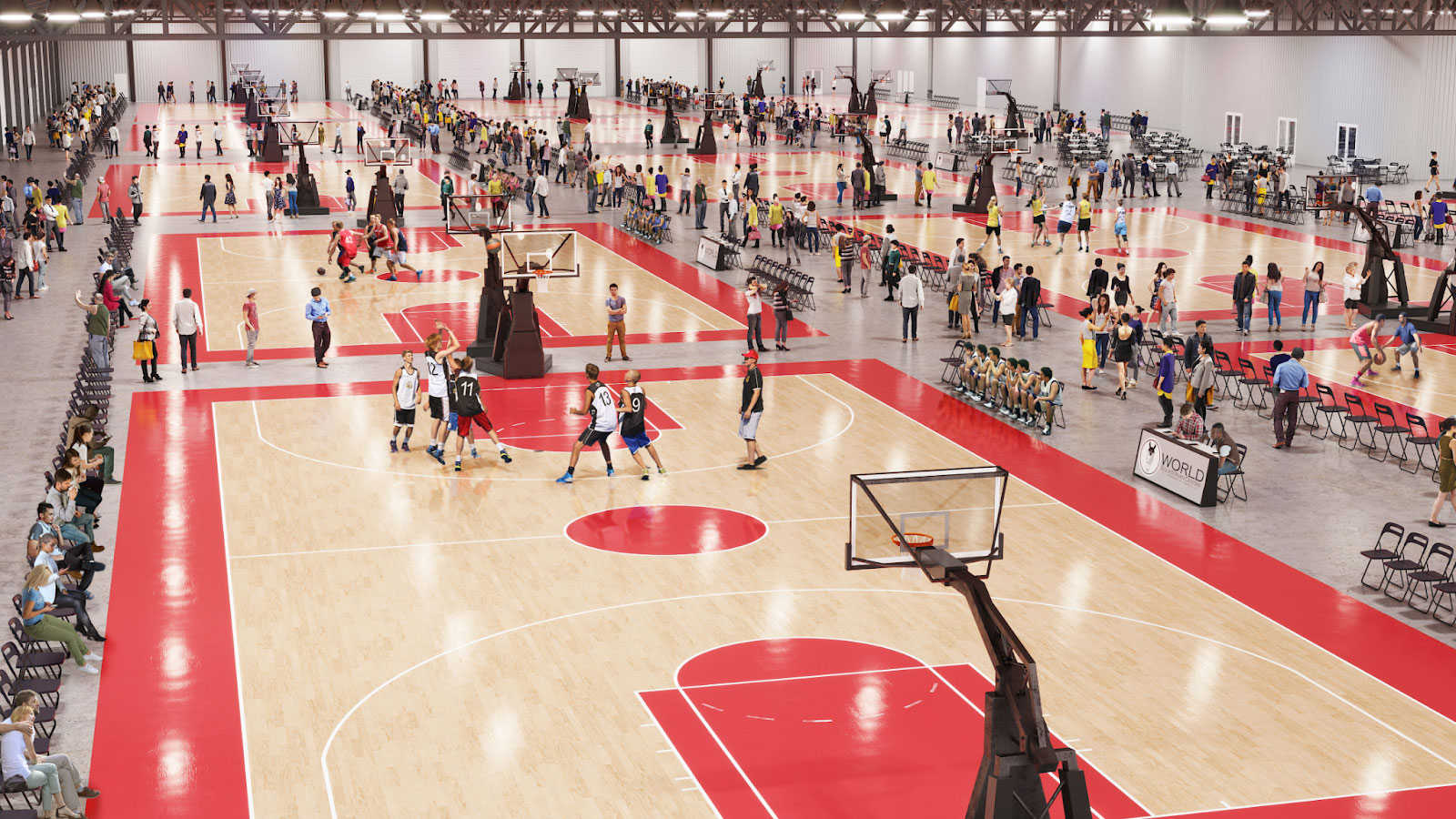 Basketball game in climate-controlled center